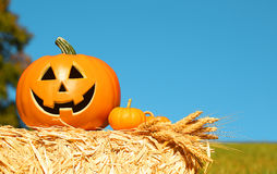 Halloween Pumpkin, funny Jack O'Lantern on Straw Bale Royalty Free Stock Images