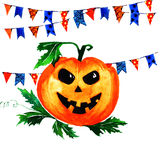 Halloween pumpkin with garlands of flags on white background. Watercolor illustration Stock Photos