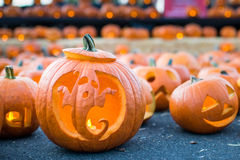 Halloween pumpkin with ghost carving. Stock Images