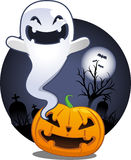 Halloween Pumpkin Ghost in Cemetery Royalty Free Stock Images