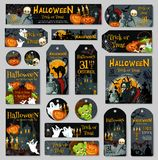 Halloween pumpkin and ghost label or tag design. Halloween pumpkin and ghost label or tag set. Spooky Halloween night lantern, bat, horror skull and spider Stock Image