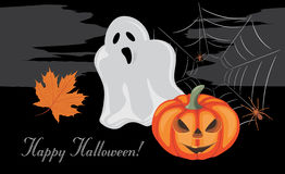 Halloween pumpkin, ghost and spiders. Greeting postcard Stock Photography