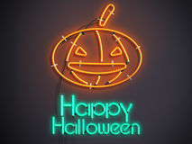 Halloween pumpkin glowing neon  3d illustration on dark background Royalty Free Stock Photography