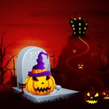 Halloween Pumpkin on Grave Royalty Free Stock Photography