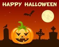 Halloween Pumpkin & Graveyard on Orange Stock Photos