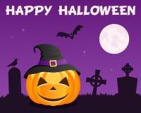 Halloween Pumpkin & Graveyard on Violet Stock Images