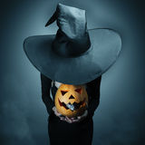 Halloween pumpkin and gray rat Stock Photography