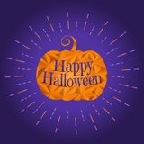 Halloween pumpkin with greeting text illustration stock image