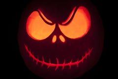 Halloween pumpkin grimming face. Close up Stock Photo
