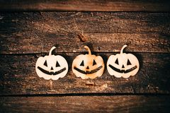 Halloween pumpkin grinning face wooden Royalty Free Stock Photography