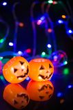 Halloween pumpkin. Head jack lantern with scary evil faces reflection the spooky holiday in fancy style stock images