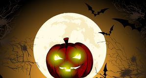 Halloween pumpkin with a happy face against the night background. Halloween pumpkin with a happy face against the background of the moon. Vector cartoon vector illustration