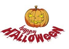 Halloween pumpkin with happy face on white background. Vector cartoon Illustration vector illustration