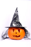 Halloween pumpkin with hat Stock Photos