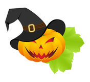 Halloween pumpkin with hat Royalty Free Stock Photos