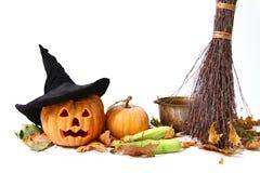 Halloween pumpkin, hat Stock Photography
