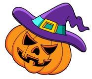 Halloween pumpkin in hat Stock Images
