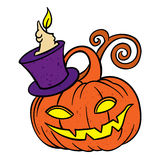 Halloween pumpkin in hat with candle Stock Photo