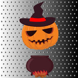 Halloween pumpkin with hat on fire Royalty Free Stock Photos