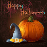 Halloween with pumpkin and hat. Illustration for halloween with pumpkin and hat Royalty Free Stock Image