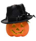 Halloween pumpkin with a hat Stock Images