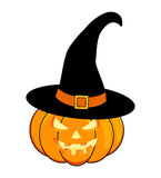 Halloween pumpkin in hat vector illustration, Jack O Lantern  on white background. Scary orange picture with eyes and  Royalty Free Stock Image