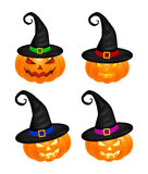 Halloween pumpkin in hat vector set illustration, Jack O Lantern isolated on white background. Scary orange picture with eyes and Royalty Free Stock Images