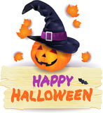 Halloween pumpkin with hat and wooden sign Royalty Free Stock Photography