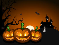 Halloween pumpkin and haunted castle Stock Photo
