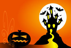 Halloween pumpkin and haunted house Stock Photo
