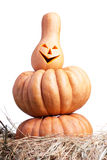 Halloween pumpkin on the hay on a white background isolated Stock Photography