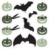 Halloween pumpkin head and bat. Halloween pumpkin head and bat Stock Photos