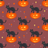 Halloween pumpkin head with black cat seamless pattern Royalty Free Stock Photography