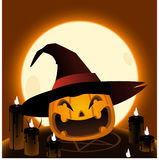 Halloween pumpkin head cartoon illustration Stock Images