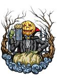 Halloween Pumpkin Head creature with a pint of beer Stock Image