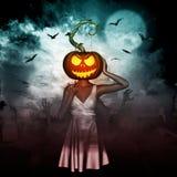 Halloween Pumpkin Head. 3d illustration of Woman halloween pumpkin head in graveyard,Mixed media Royalty Free Stock Photo