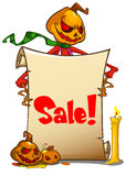 Halloween pumpkin head holding empty paper scroll. Vector illustration. Royalty Free Stock Photography