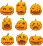 Halloween pumpkin head icons Royalty Free Stock Images