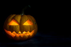 Halloween pumpkin head jack in darkness night Stock Images