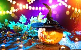 Halloween pumpkin head jack lantern with burning candles Stock Image