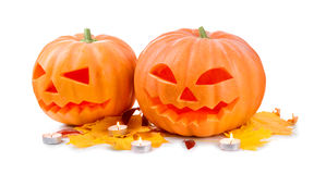 Halloween pumpkin head jack lantern with burning candles Royalty Free Stock Photos
