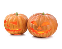 Halloween pumpkin head jack lantern with burning candles Stock Photo