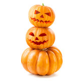 Halloween pumpkin head jack lantern with burning candles Royalty Free Stock Image