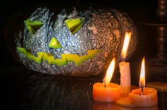 Halloween pumpkin head jack lantern on dark tone Stock Image