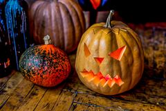 Halloween pumpkin head jack lantern. Stock Photography