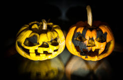 Halloween pumpkin head jack lantern with scary evil faces spooky holiday Stock Images