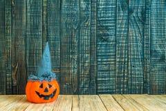 Halloween pumpkin head jack lantern on wooden Stock Photography