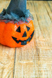 Halloween pumpkin head jack lantern on wooden Stock Images