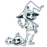 Halloween pumpkin head scarecrow outlines, vector postcard for Halloween holiday. Stock Photos