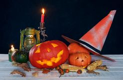 Halloween-pumpkin head on a wooden table . royalty free stock photos